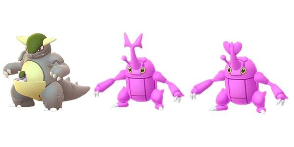 Shiny Heracross & Kangaskan in Pokémon GO. Credit: Niantic