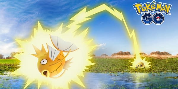 Shiny Magikarp getting clapped by Joltik in Pokémon GO. Credit: Niantic