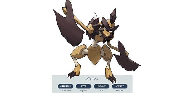 Kleavor design. Credit: Pokémon