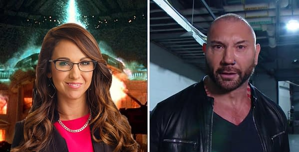 Hollywood megastar Dave Bautista is outspoken about his hatred of fellow WWE Hall-of-Famer Former President Donald Trump and his various Republican allies, including Congresswoman Lauren Boebert, pictured here in front of aliens blowing up the White House