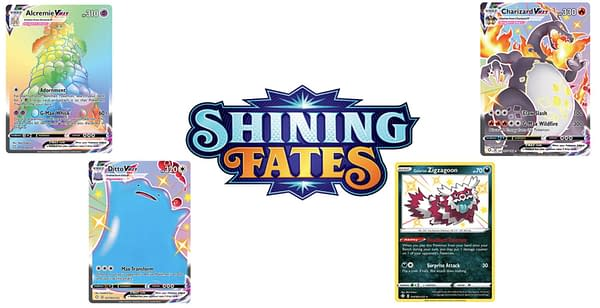 Shining Fates logo and cards. Credit: Pokémon TCG