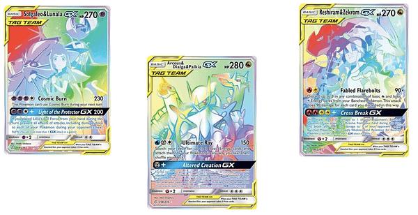 The Rainbow Rare Tag Team Cards of Cosmic Eclipse. Credit: Pokémon TCG