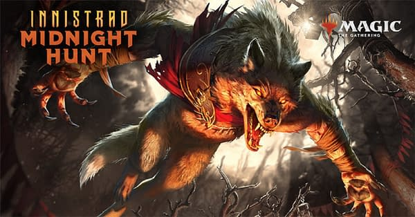 Key art for Innistrad: Midnight Hunt, the next upcoming expansion set for Magic: The Gathering.