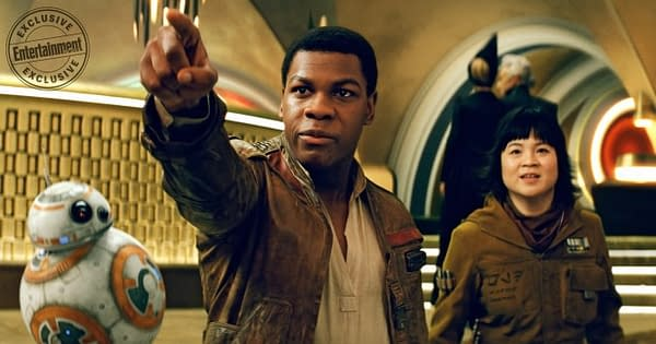 STAR WARS: THE LAST JEDI John Boyega is Finn and Kelly Marie Tran is Rose (with BB-8)