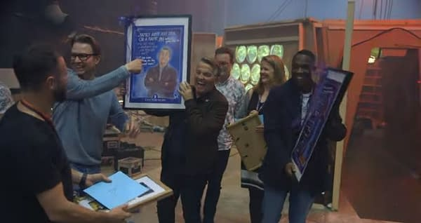 Doctor Who released a video saying goodbye to Bradley Walsh and Tosin Cole. (Image: BBC screencap)