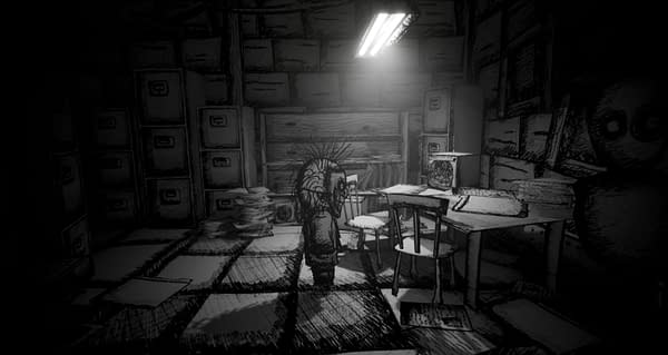 A screenshot from My Beautiful Paper Smile, an indie horror game by Two Star Games and Vicarious Publishing.
