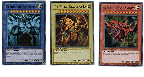 The Egyptian God cards from Yu-Gi-Oh! by Konami.