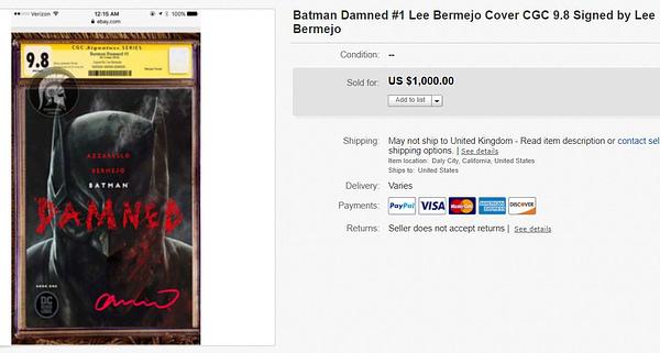 Batman Damned #1 Signed by Lee Bermejo Sells for $1000