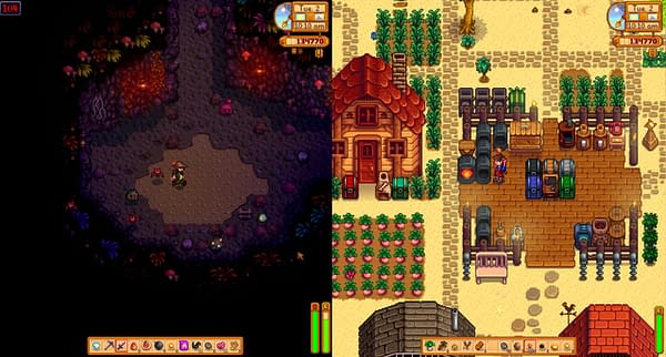 A look at the split-screen view in Stardew Valley, courtesy of ConcernedApe.