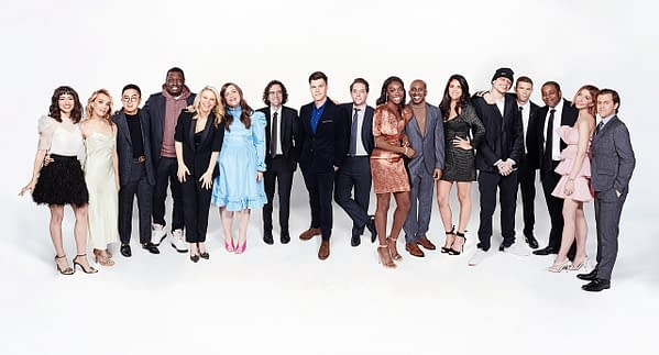 Melissa Villaseñor, Chloe Fineman, Bowen Yang, Michael Che, Kate McKinnon, Aidy Bryant, Kyle Mooney, Colin Jost, Beck Bennett, Ego Nwodim, Chris Redd, Cecily Strong, Pete Davidson, Mikey Day, Kenan Thompson, Heidi Gardner, and Alex Moffat are all part of this season's Saturday Night Live, courtesy of NBC.