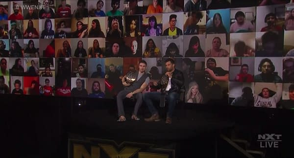 Footage from last night's WWE NXT, showing Jessi Davin on the bottom row directly to the right of Fandango, though she wasn't actually in attendance.