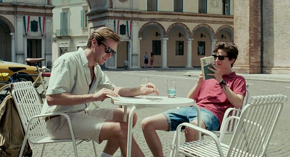 Call Me by Your Name scene featuring Armie Hammer and Timothée Chalamet.