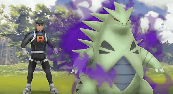 Cliff from Team GO Rocket and his Shadow Tyranitar. Credit: Niantic.