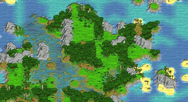 A screenshot from independently-developed exploration game Curious Expedition 2, showing a map of the surrounding area in the game.