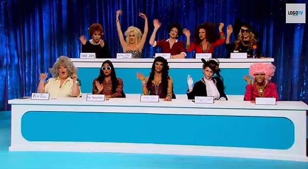 "It's time for ""Snatch Game"" on RuPaul's Drag Race season 6, courtesy of Logo TV."