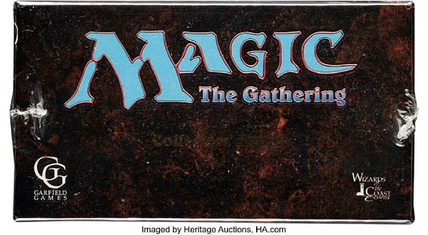 The top of the sealed box of Collectors Edition cards from Magic: The Gathering's first year, up for auction over at Heritage Auctions right now.
