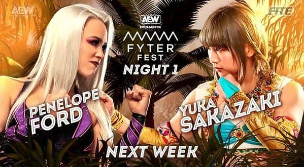 Penelope Ford will ace Yuka Sakazaki at AEW Dynamite: Fyter Fest Night 1 on Wednesday, July 14th.