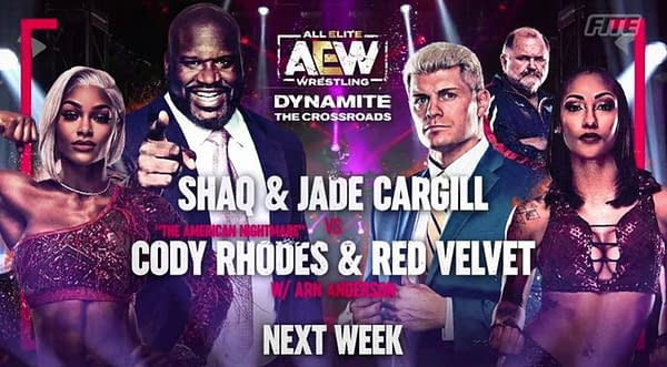 After much hype, Shaq and Jade Cargill will step in the ring with Cody Rhodes and Red Velvet next week.