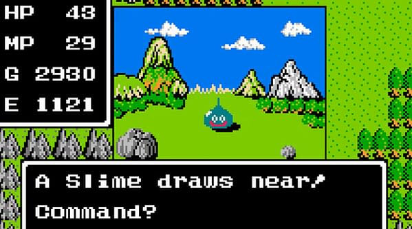 A screenshot from the original, legendary Dragon Warrior game by Enix Corporation (now Square-Enix). This game is presently on auction at ComicConnect!