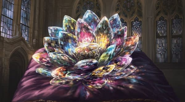 The art for Jeweled Lotus, an iconic card from Magic: The Gathering's set, Commander Legends, foils from which have been curling a ton.