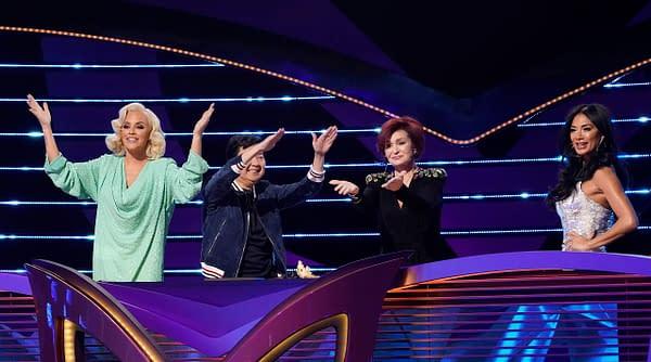 Jenny McCarthy, Ken Jeong, guest panelist Sharon Osbourne, and Nicole Scherzinger on The Masked Singer, courtesy of FOX.