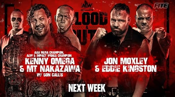 Kenny Omega and Michael Nakazawa will face Jon Moxley vs. Eddie Kingston on AEW Dynamite next week. Omega didn't want the match, but Moxley and Kingston forced Don Callis to make it under threat of breaking Omega's leg.