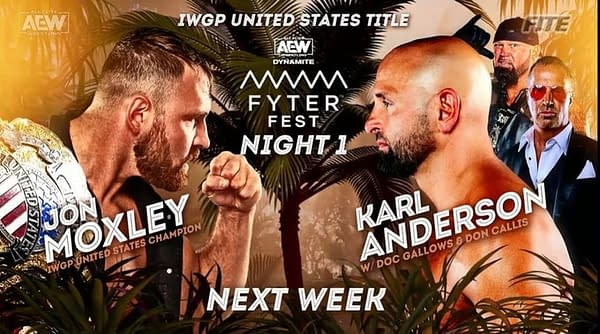 Jon Moxley will defend NJPW's IWGP United States Championship against Machine Gun Karl Anderson at AEW Dynamite: Fyter Fest Night 1 on Wednesday, July 14th.