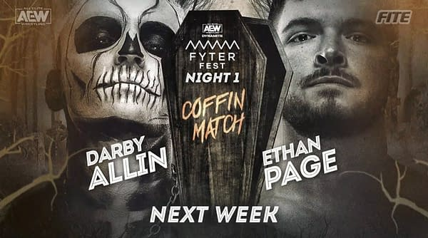 Darby Allin will face Ethan Page in the first-ever AEW Coffin Match at AEW Dynamite: Fyter Fest Night 1 on Wednesday, July 14th.