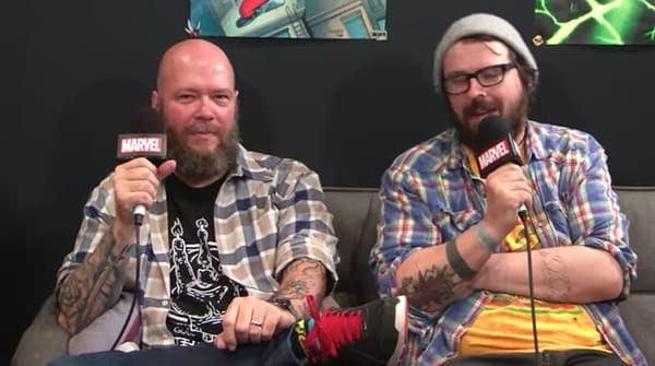 Matthew Rosenberg (right) appears on a Marvel video with fellow comics elite Jason Aaron