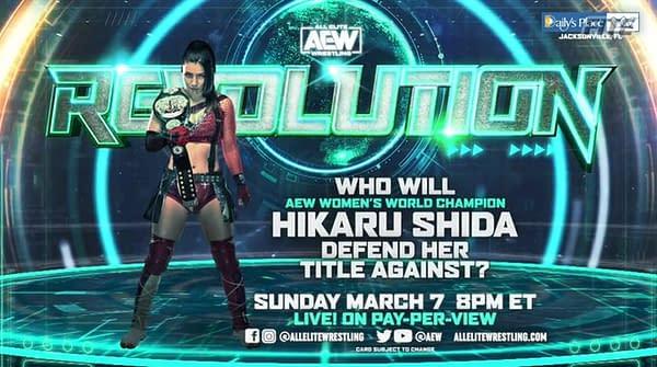 Hikaru Shida will defend the AEW Women's Championship against the winner of the Women's World Championship Eliminator Tournament at Revolution.