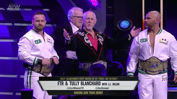 Tully Blanchard, JJ Dillon, and FTR head to the ring on AEW Dynamite