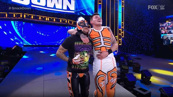Rey and Dominik Mysterio Celebrate After Their Victory on WWE Smackdown.