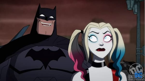 Harley Quinn finds Batman's humor a little off, courtesy of DC Universe.