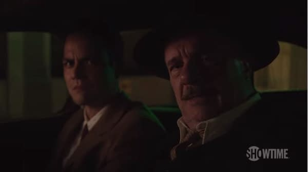Vega and Michener are on a stakeout in Penny Dreadful: City of Angels, courtesy of Showtime.