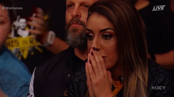 AEW Star Britt Baker appears in the audience of NXT War Games. [Screencap from Broadcast]