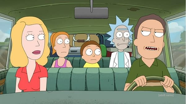 The family goes on vacation on Rick and Morty, courtesy of Adult Swim.