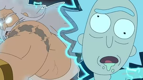 """Rick goes one-on-one with Zeus in """"Childrick of Mort"""" on Rick and Morty, courtesy of Adult Swim."""