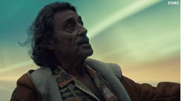 Ian McShane in American Gods, courtesy of STARZ.