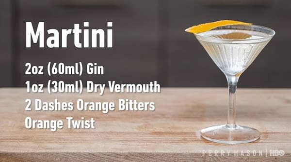 This week's Perry Mason drink: Martini (Image: HBO)