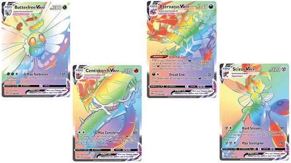 Rainbow Rare Cards of Darkness Ablaze. Credit: Pokémon TCG