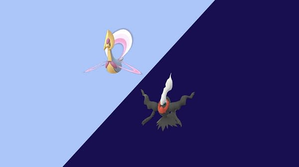 Cresselia and Darkrai graphic in Pokémon GO. Credit: Niantic