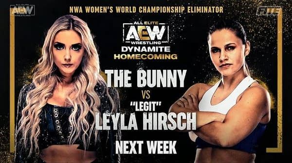 """The Bunny will take on"""" Legit"""" Leyla Hirsch at AEW Dynamite: Homecoming at Daily's Place in Jacksonville, Florida on Wednesday, August 4th."""