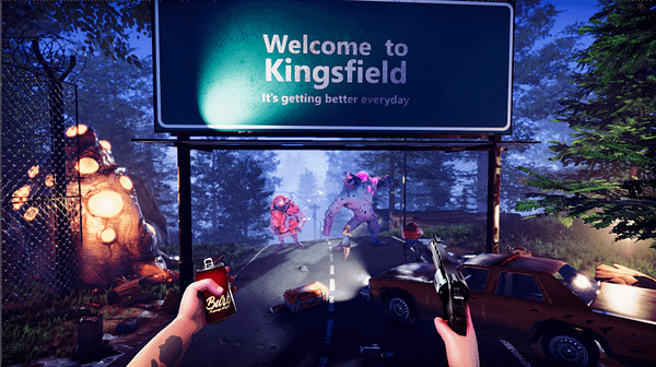 A screenshot from Flatfish Games' asymmetrical indie horror game, Monster Master. This is the first-person shooter view of the Kingsfield borderline.