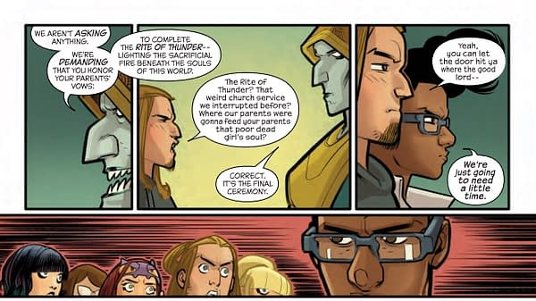 The Logistics of Human Sacrifice in Next Week's Runaways #14