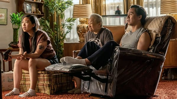 Awkwafina, Lori Tan Chinn, and BD Wong in Awkwafina Is Nora From Queens, courtesy of Comedy Central.