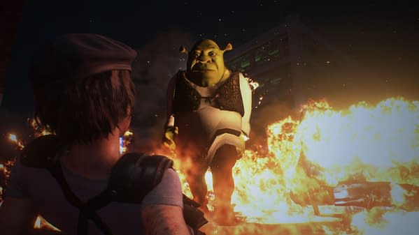 This Resident Evil 3 mod has Shrek chasing you down instead of Nemesis. Credit: MrMarco1003