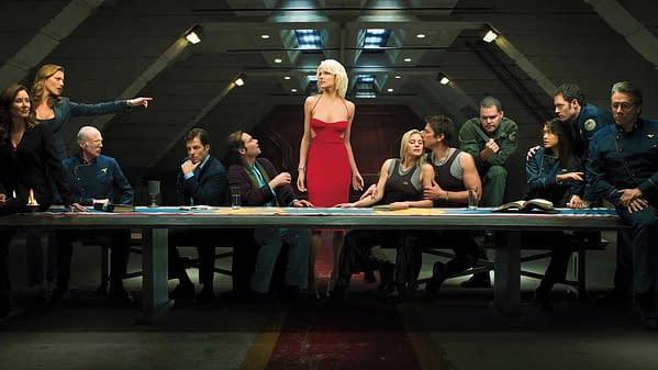 A cast scene for Ronald D. Moore's Battlestar Galactica, courtesy of SYFY.