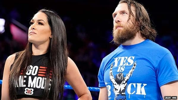Daniel and Brie in the ring, courtesy of WWE.