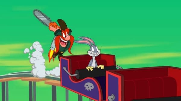Yosemite Sam's not amused by Bugs Bunny in Looney Tunes Cartoons, courtesy of HBO Max.