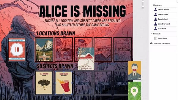 An example of gameplay for Alice Is Missing over Roll20.